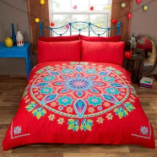 """Bohemian Mandala"" Red with Multi Colour print King,""Made with Spirit by Rapport"