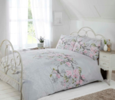 """Eloise"",Grey, King Duvet Set, ""Made with Love"" by Rapport"