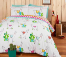 """Happy Llamas"", Easy care,Double Duvet set, ""Studio Art"" by Rapport"
