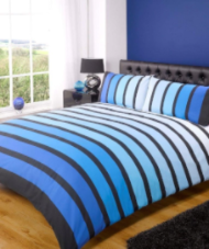 """Soho"", Blue Stripe Double Duvet Set,easy care, ""Finest Homeware"" by Rapport"