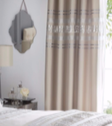 Broadway Modern Fully Lined Sequined Design Eyelet Pair of Curtains, Beige