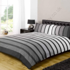 Contemporary Art  Soho Black / Grey Coloured Stripe King Duvet Set by Rapport