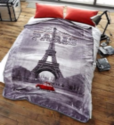"Faux Fur ""Bonjour Paris"" Throw Fleece Blanket Super Soft  Eiffel Tower"