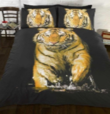 "Gold Tiger photographic print, easycare Duvet Set ""Urban Unique"" By Rapport"
