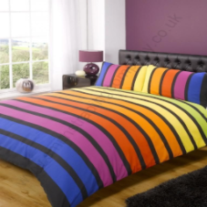 "King multi coloured stripes Soho duvet set From ""Contemporary Art"" by Rapport"
