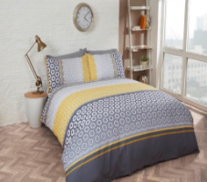 "Ochre ""Barbican"" Double Duvet Set, easycare, ""Finest Homeware"" by Rapport"