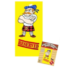 "Reserved"" Beach Towel, Kilted Scotsman from ""Thistle Products Ltd""."