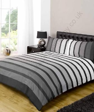 Soho Black Coloured Stripe Duvet Set, Double